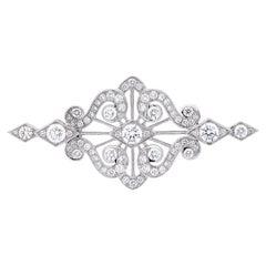 Garrard 'Albemarle' 18 Karat White Gold White Diamond Brooch