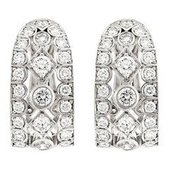 Garrard 'Albemarle' 18 Karat White Gold White Diamond Wrap Earrings