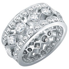 Garrard 'Albemarle' 18 Karat White Gold White Diamond Wide Ring