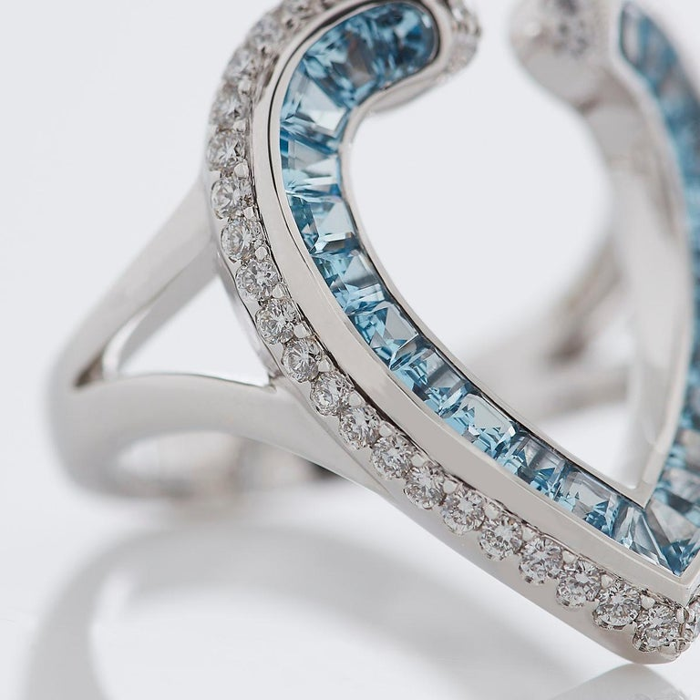 Round Cut Garrard 'Aloria' 18 Karat White Gold Calibre Cut Aquamarine White Diamond Ring For Sale