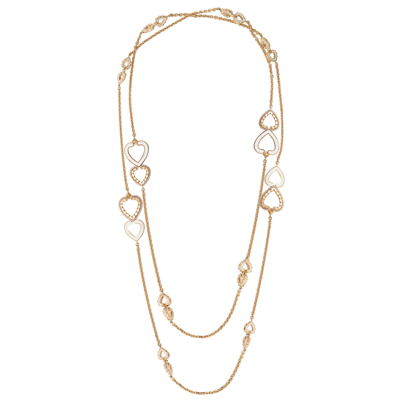 Garrard 'Aloria' 18 Karat Yellow Gold Diamond Enamel Reversable Sautoir Necklace