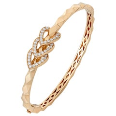 Garrard 'Aloria' 18 Karat Yellow Gold White Diamond Enamel Reversable Bangle