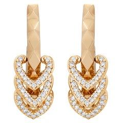 Garrard 'Aloria' 18 Karat Yellow Gold White Diamond Enamel Reversable Earrings