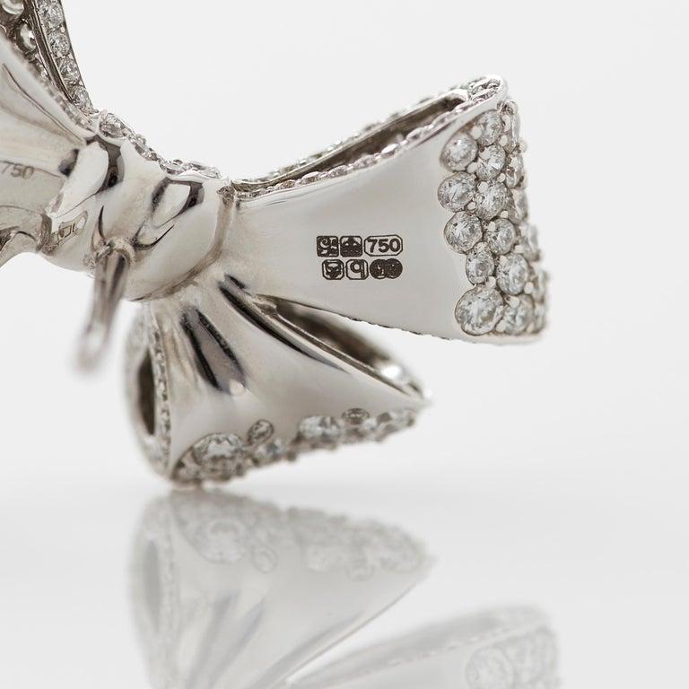 Round Cut Garrard 'Bow' 18 Karat White Gold Round and Emerald Cut White Diamond Earrings