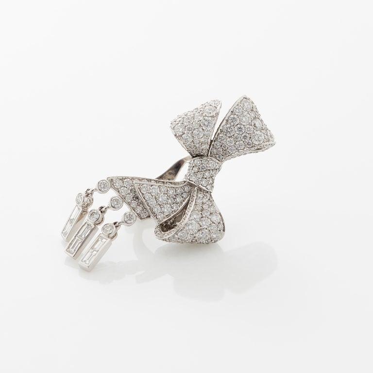 Garrard 'Bow' 18 Karat White Gold Round and Emerald Cut White Diamond Earrings 1