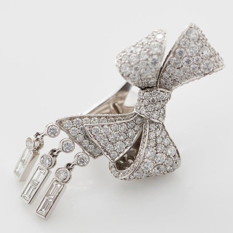 Garrard 'Bow' 18 Karat White Gold Round and Emerald Cut White Diamond Earrings 2