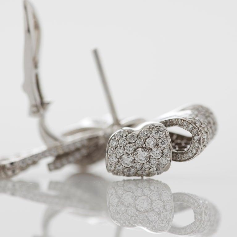 Garrard 'Bow' 18 Karat White Gold Round and Emerald Cut White Diamond Earrings 3