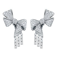 Garrard 'Bow' 18 Karat White Gold Round and Emerald Cut White Diamond Earrings