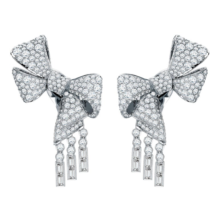 Garrard 'Bow' 18 Karat White Gold Round and Emerald Cut White Diamond Earrings For Sale