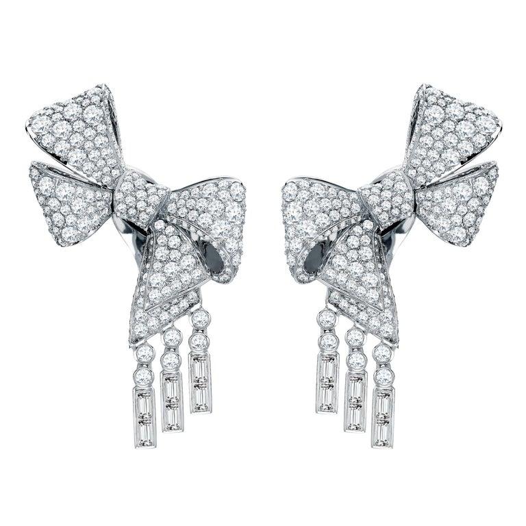 Garrard 'Bow' 18 Karat White Gold Round and Emerald Cut White Diamond Earrings