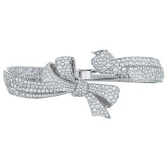Garrard 'Bow' 18 Karat White Gold White Diamond Bangle Cuff