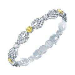 Garrard 'Daffodil' 18 Karat Gold White Diamond and Yellow Sapphire Bracelet