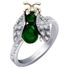 Garrard 'Enchanted Palace' 18 Karat Emerald Cabachon and Diamond Bug Motif Ring