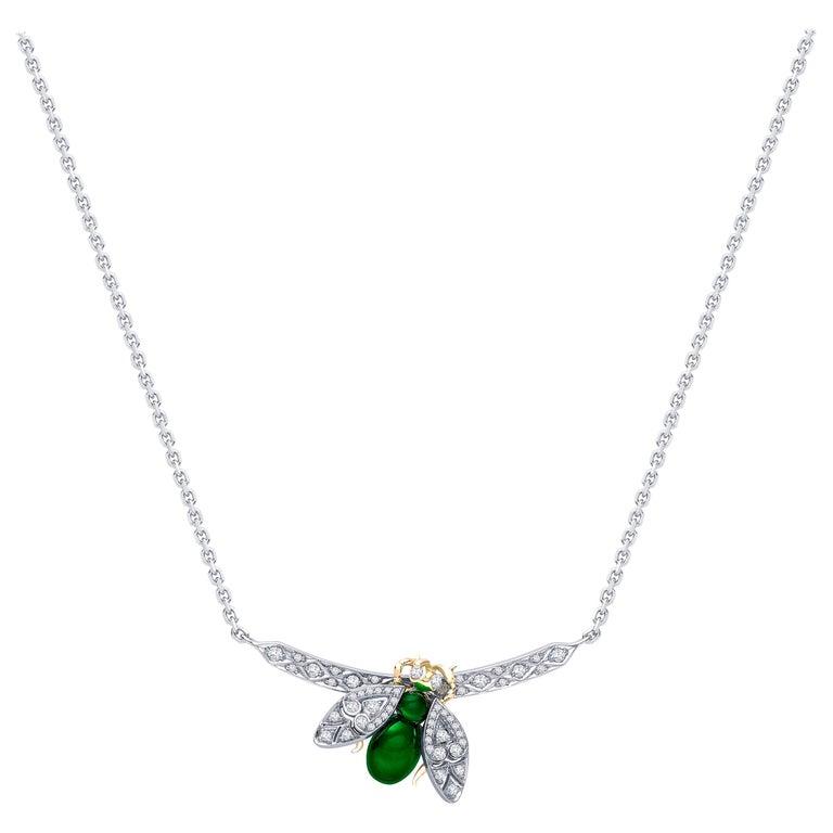 Garrard 'Enchanted Palace 18 Karat Emerald Cabachon and Diamond Bug Necklace For Sale