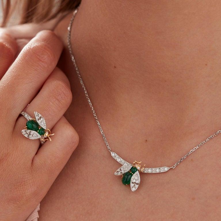 Women's Garrard 'Enchanted Palace 18 Karat Emerald Cabachon and Diamond Bug Necklace For Sale
