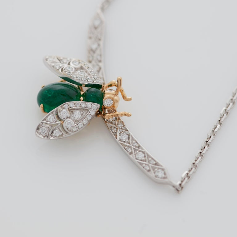 Garrard 'Enchanted Palace 18 Karat Emerald Cabachon and Diamond Bug Necklace For Sale 2