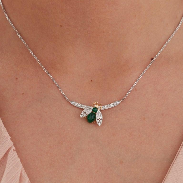 Garrard 'Enchanted Palace 18 Karat Emerald Cabachon and Diamond Bug Necklace For Sale 3