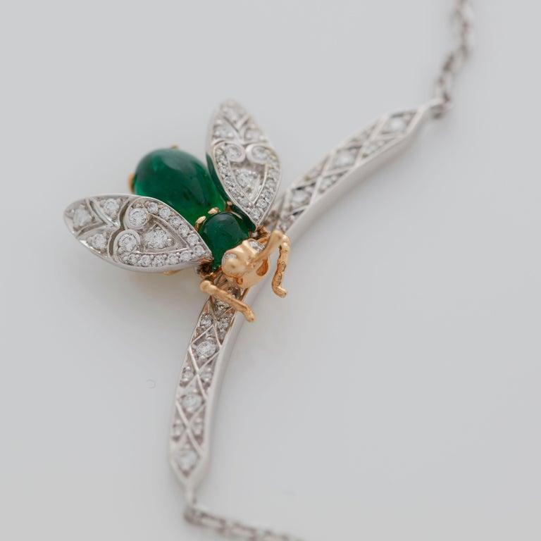 Garrard 'Enchanted Palace 18 Karat Emerald Cabachon and Diamond Bug Necklace For Sale 4