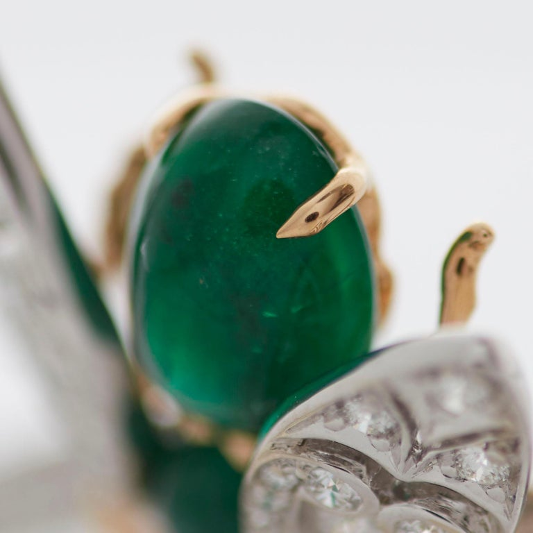 Garrard 'Enchanted Palace 18 Karat Emerald Cabachon and Diamond Bug Necklace For Sale 5