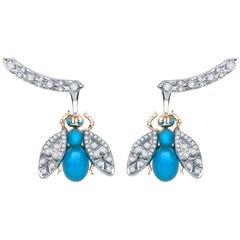 Garrard 'Enchanted Palace' 18 Karat Turquoise Cabachon and Diamond Bug Earrings