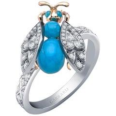 Garrard 'Enchanted Palace' 18 Karat Gold Diamond and Turquoise Cabachon Ring