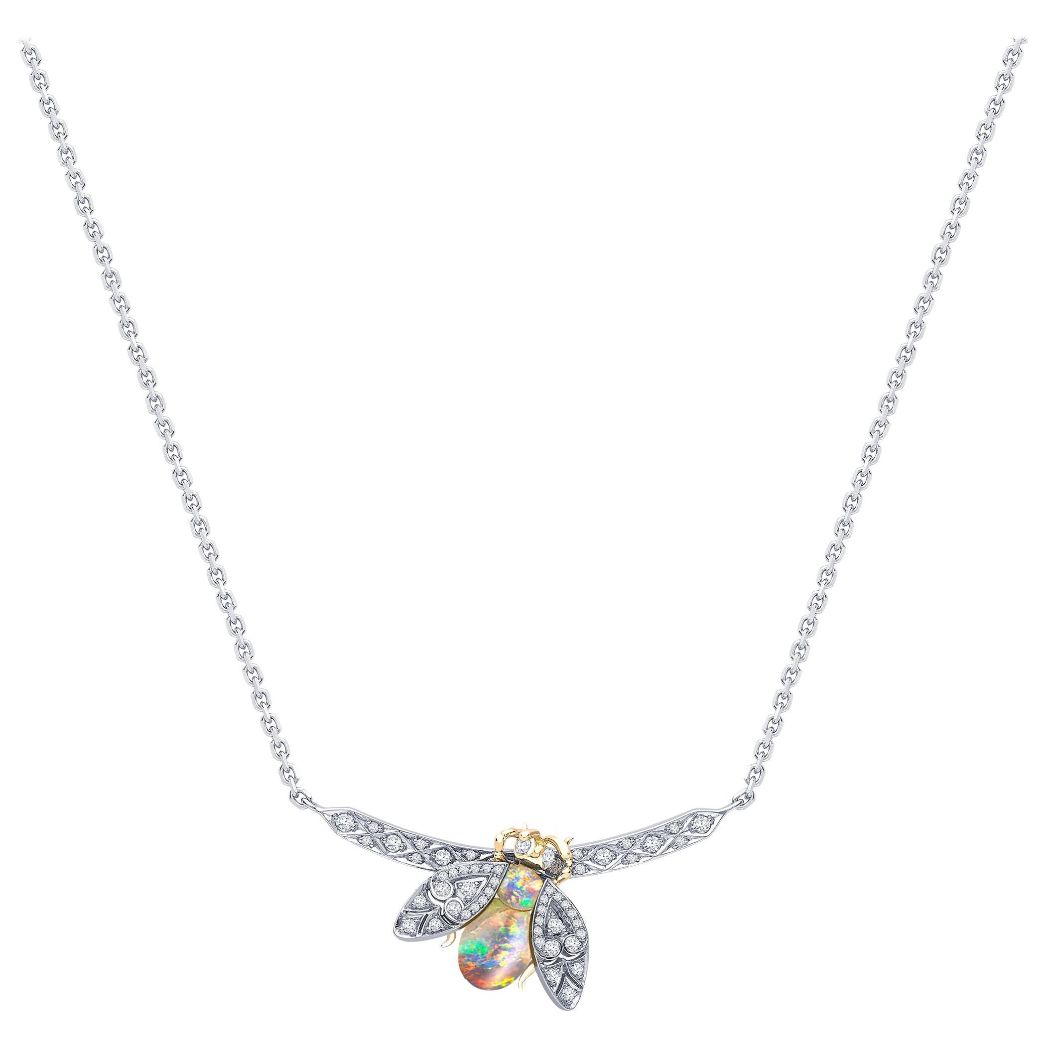 Garrard 'Enchanted Palace' 18 Karat White Gold White Diamond Opal Bug Pendant