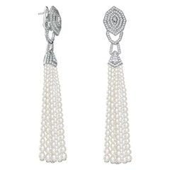 Garrard 'Enchanted Palace' White Gold White Diamond White Pearl Tassel Earrings