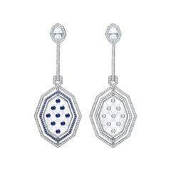 Garrard 'Entanglement' 18 Karat White Gold, Diamond and Rock Crystal Earrings