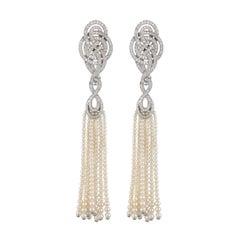 Garrard Entanglement White Gold and White Diamond Tassell Pearl Drop Earrings