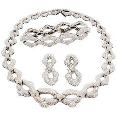 Garrard Estate Necklace, Bracelet, and Earrings Set in Platinum