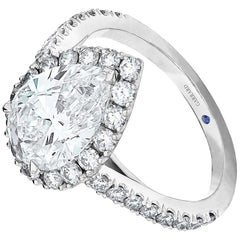 Garrard 'Evermore' Platinum GIA Certified 3.01ct Pearshape White Diamond Ring