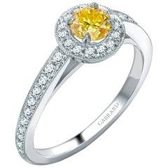 Garrard 'Evermore' Platinum GIA Certified Round Yellow and White Diamond Ring