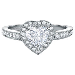 Garrard 'Evermore' Platinum Heart Shape White Diamond Bridal Ring