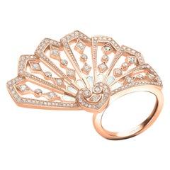 Garrard 'Fanfare' 18 Karat Rose Gold White Diamond White Mother of Pearl Ring