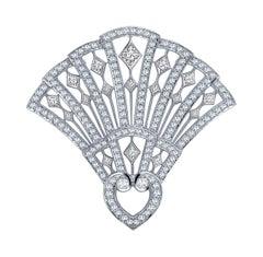 Garrard Fanfare 18 Karat White Gold Brooch with Round & Square White Diamond