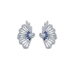 Garrard 'Fanfare' 18 Karat White Gold Diamond and Blue Sapphire Earring Climbers