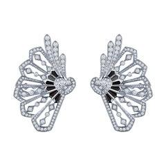 Garrard 'Fanfare' 18 Karat White Gold White Diamond Onyx Ear Climbers