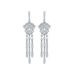 Garrard 'Fanfare' Cascade 18 Karat White Gold Diamond Mother of Pearl Earrings
