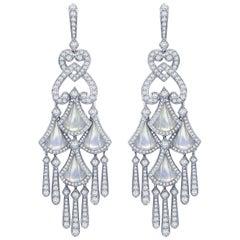 Garrard 'Fanfare' 18 Karat White Gold White Diamond Earrings Mother of Pearl