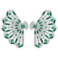 Garrard 'Fanfare Symphony' 18 Karat Gold Diamond Emerald Malachite Earrings