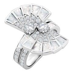 Garrard 'Fanfare Symphony' 18 Karat White Gold Diamond and Mother of Pearl Ring