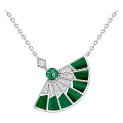 Garrard 'Fanfare Symphony' 18 Karat White Gold Diamond Emerald Malachite Pendant