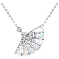 Garrard 'Fanfare Symphony' 18 Karat White Gold Diamond Mother of Pearl Pendant
