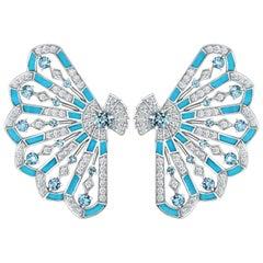 Garrard 'Fanfare Symphony' White Gold Diamond Aquamarine and Turquoise Earrings