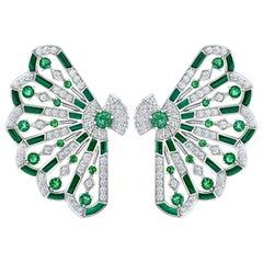 Garrard 'Fanfare Symphony' White Gold Diamond Emerald Malachite Earrings
