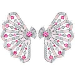 Garrard 'Fanfare Symphony' White Gold Diamond Pink Tourmaline Pink Opal Earrings