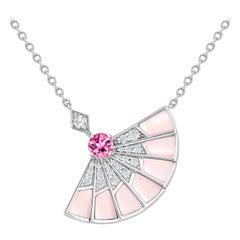 Garrard 'Fanfare Symphony' White Gold Diamond Pink Tourmaline Pink Opal Pendant