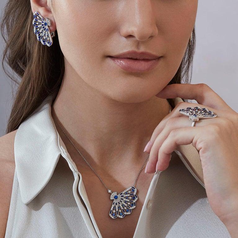 Modern Garrard 'Fanfare Symphony' White Gold Diamond Sapphire and Lapis Lazuli Ring For Sale