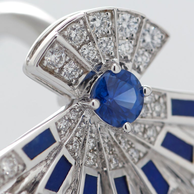 Round Cut Garrard 'Fanfare Symphony' White Gold Diamond Sapphire and Lapis Lazuli Ring For Sale