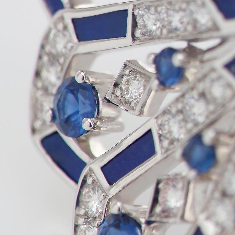 Women's or Men's Garrard 'Fanfare Symphony' White Gold Diamond Sapphire and Lapis Lazuli Ring For Sale